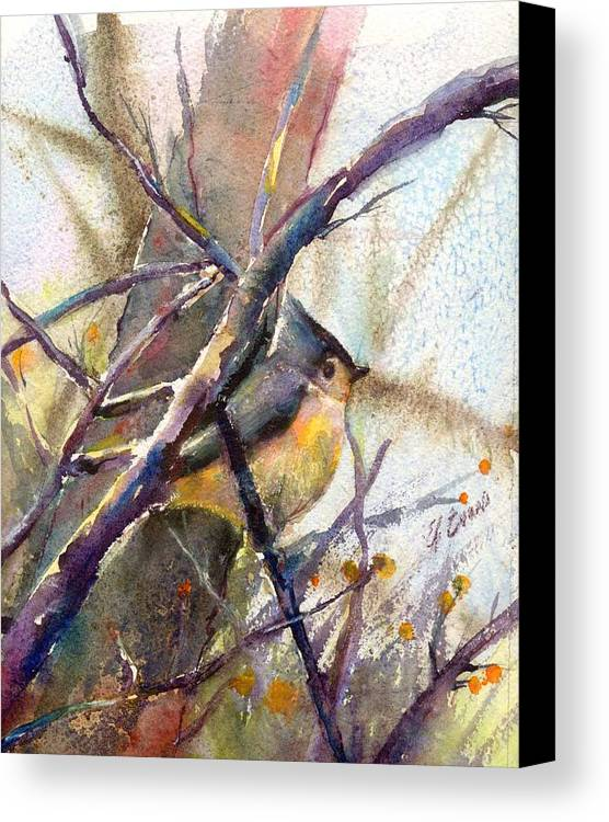 Birds Canvas Print featuring the painting Tuffed Titmouse 2 by Elizabeth Evans