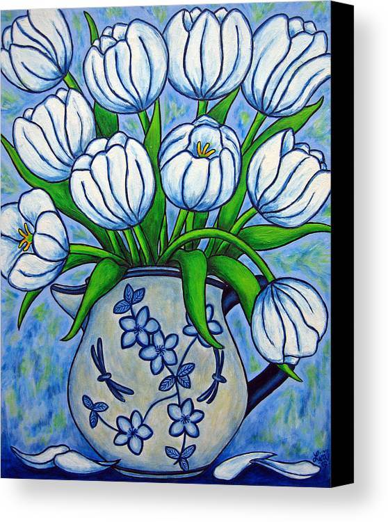 Flower Canvas Print featuring the painting Tulip Tranquility by Lisa Lorenz
