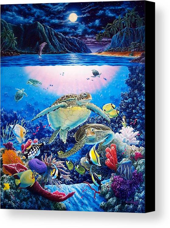 Dolphins Canvas Print featuring the painting Turtle Bay by Daniel Bergren