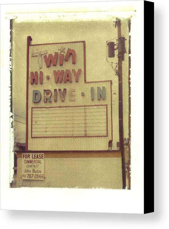 Polaroid Canvas Print featuring the photograph Twin Hi-way Drive-in Sign by Steven Godfrey