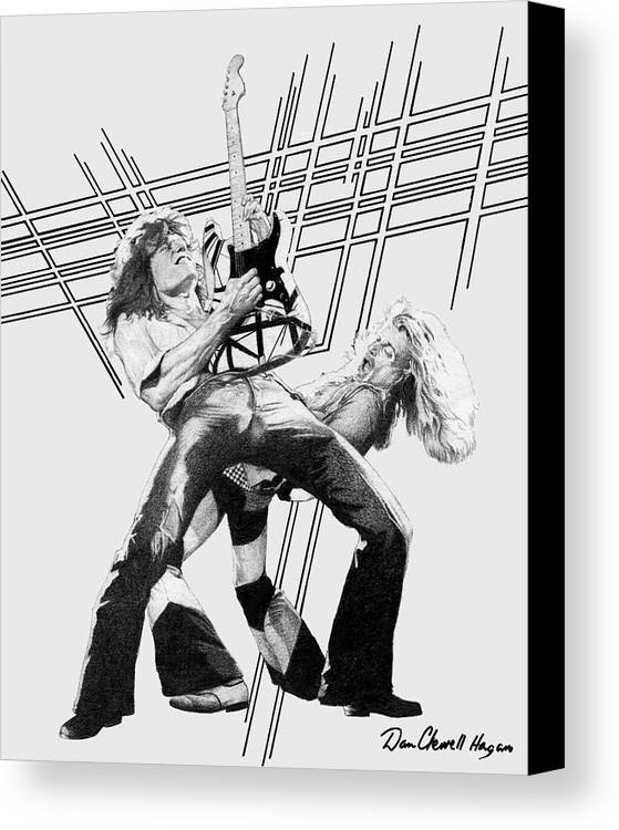 Music Canvas Print featuring the drawing Vanhalen by Dan Clewell