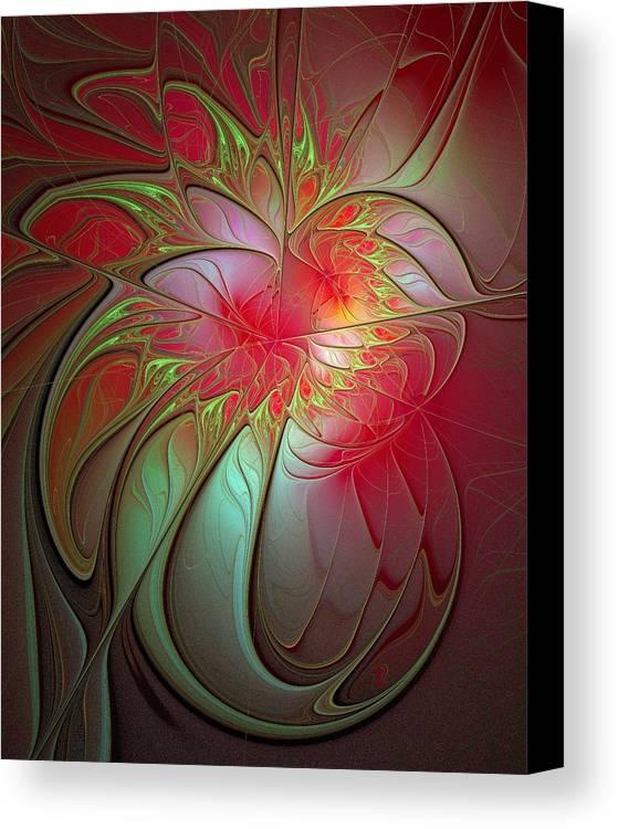 Digital Art Canvas Print featuring the digital art Vase Of Flowers by Amanda Moore