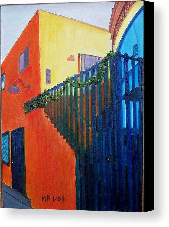 Oil On Canvas-building-architecture-color Canvas Print featuring the painting Venice Building by Madeleine Prochazka
