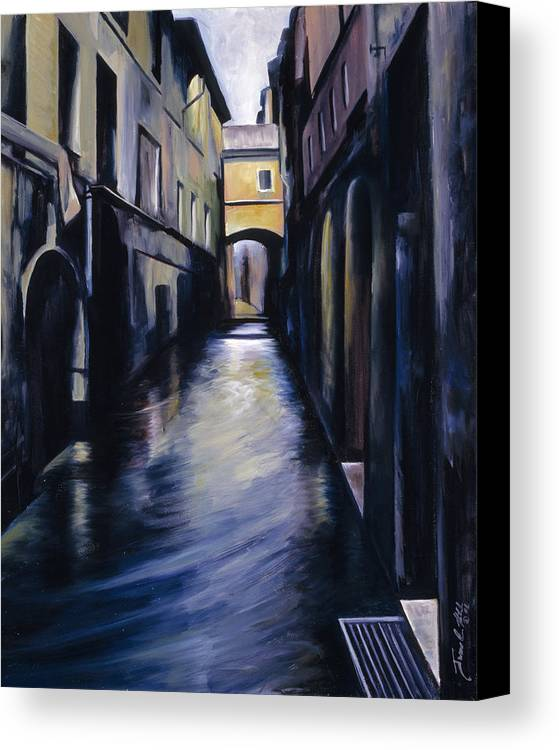 Street; Canal; Venice ; Desert; Abandoned; Delapidated; Lost; Highway; Route 66; Road; Vacancy; Run-down; Building; Old Signage; Nastalgia; Vintage; James Christopher Hill; Jameshillgallery.com; Foliage; Sky; Realism; Oils Canvas Print featuring the painting Venice by James Christopher Hill