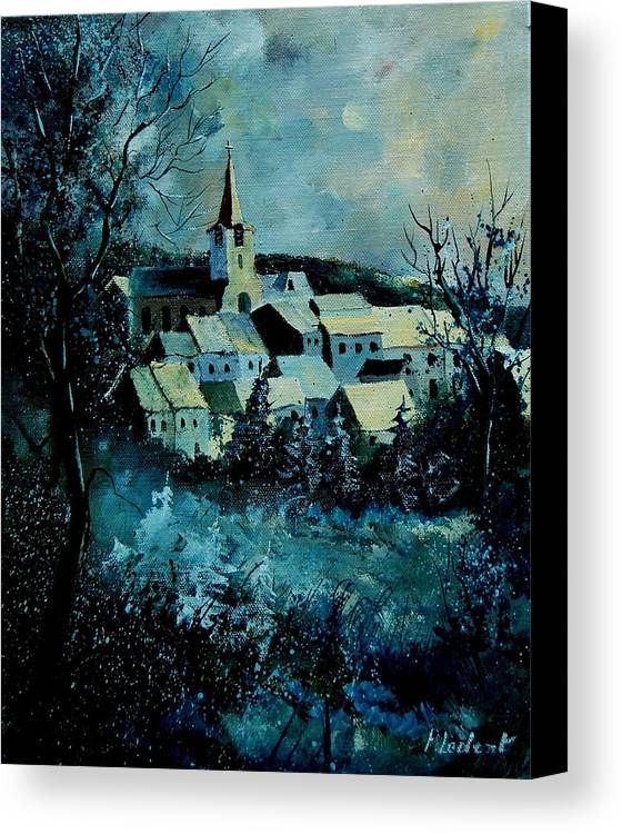 River Canvas Print featuring the painting Village In Winter by Pol Ledent