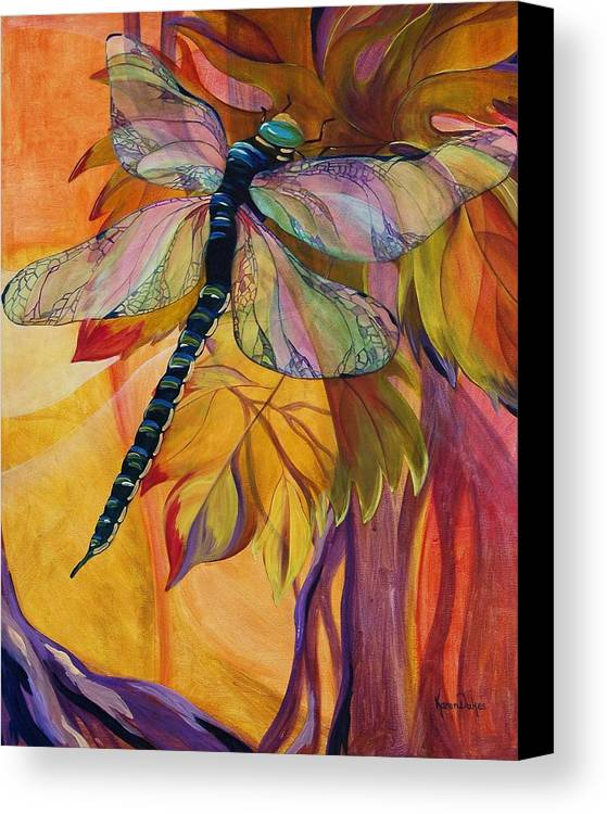 Dragonfly Canvas Print featuring the painting Vineyard Fantasy by Karen Dukes