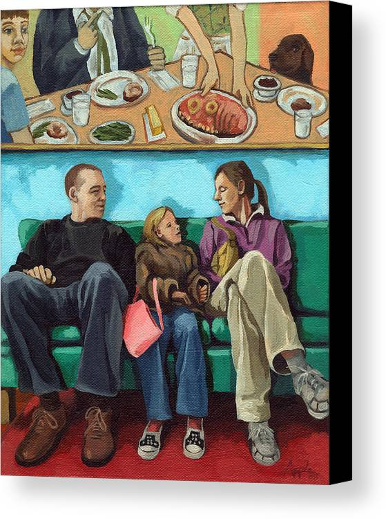 Diner Canvas Print featuring the painting Waiting At The Diner by Linda Apple
