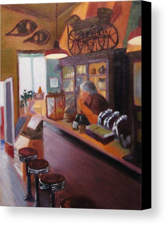 Nostalgia Canvas Print featuring the painting Waiting For Customers by Laura Roberts