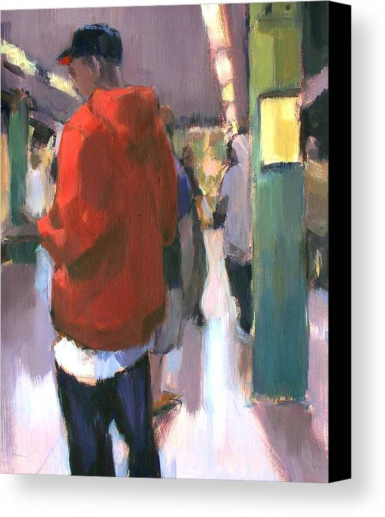 New York Canvas Print featuring the painting Waiting For The Uptown 1 by Merle Keller