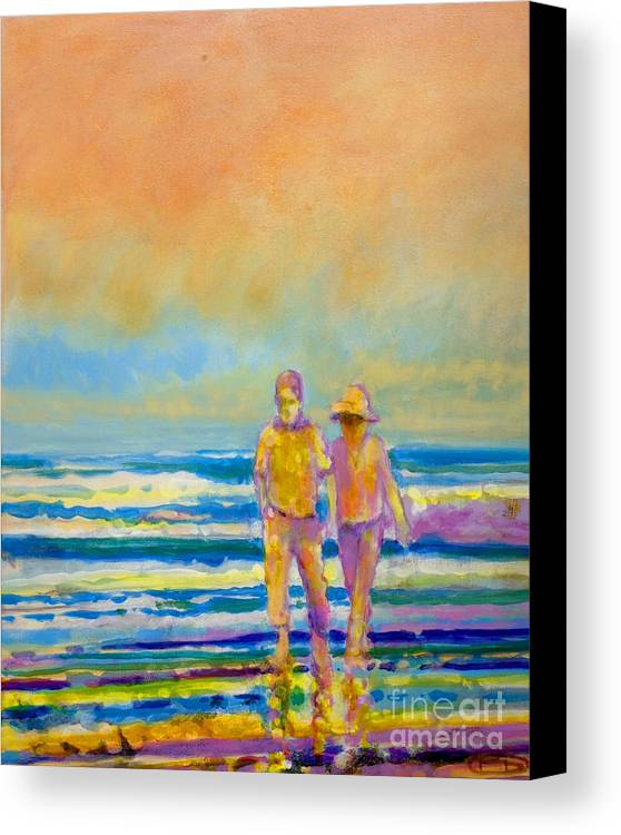 Lovers Canvas Print featuring the painting Walking Together by Kip Decker