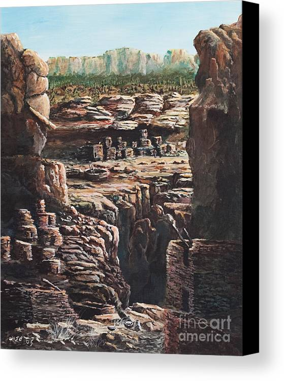 Anasazi Ruins Canvas Print featuring the painting Walnut Canyon by John Wise