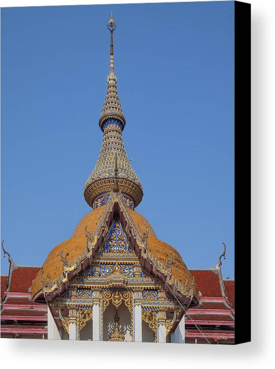Temple Canvas Print featuring the photograph Wat Chaimongkron Phra Wihan Gable And Spire Dthcb0090 by Gerry Gantt