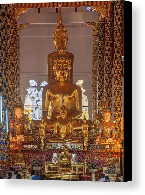 Scenic Canvas Print featuring the photograph Wat Suan Dok Wihan Luang Buddha Images Dthcm0952 by Gerry Gantt