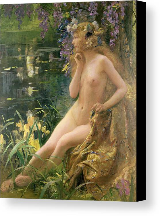 Water Nymph (oil On Canvas) By Gaston Bussiere (1862-1929) Canvas Print featuring the painting Water Nymph by Gaston Bussiere