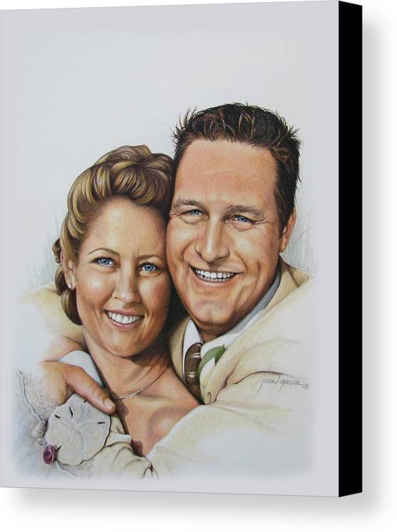 Wedding Portraits Canvas Print featuring the drawing Wedding Portrait Jeremy N Katie by Joan Garcia