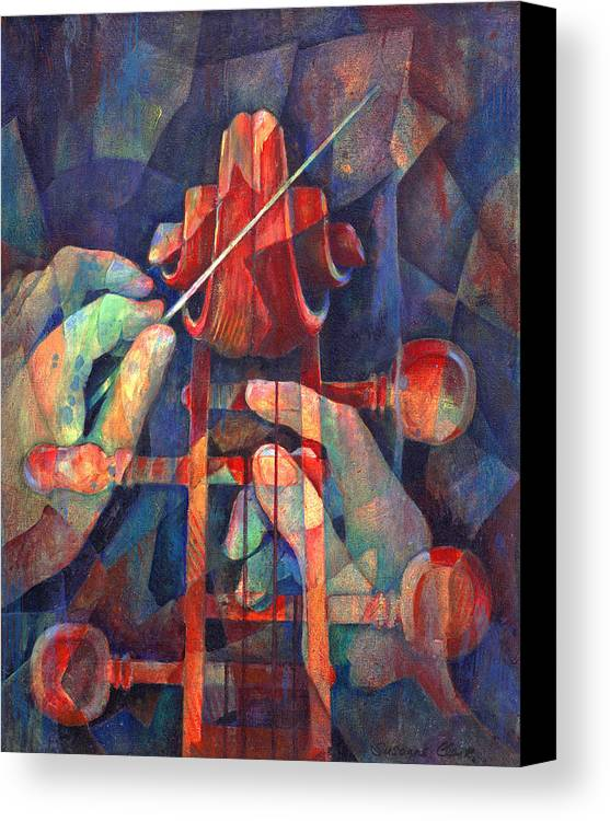 Music Canvas Print featuring the painting Well Conducted - Painting Of Cello Head And Conductor's Hands by Susanne Clark