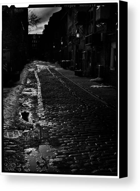 Black And White Canvas Print featuring the photograph Wharf Street by Filipe N Marques