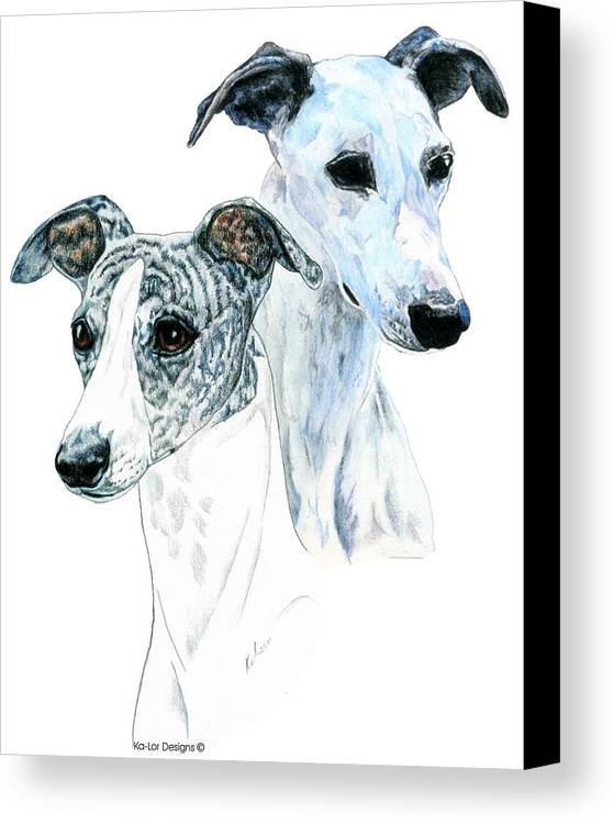 Whippet Canvas Print featuring the painting Whippet Pair by Kathleen Sepulveda