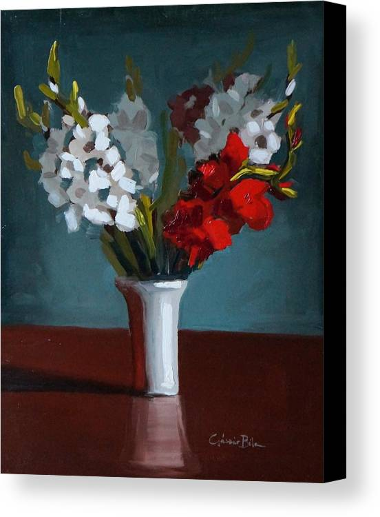 Flowers Canvas Print featuring the painting White And Red Gladioli by Bela Csaszar