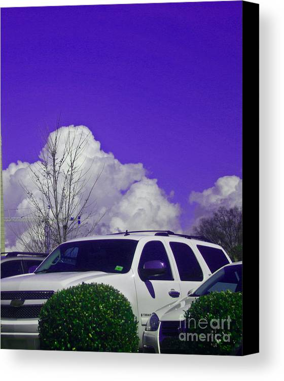 Car Canvas Print featuring the photograph White Car And Clouds by Beebe Barksdale-Bruner