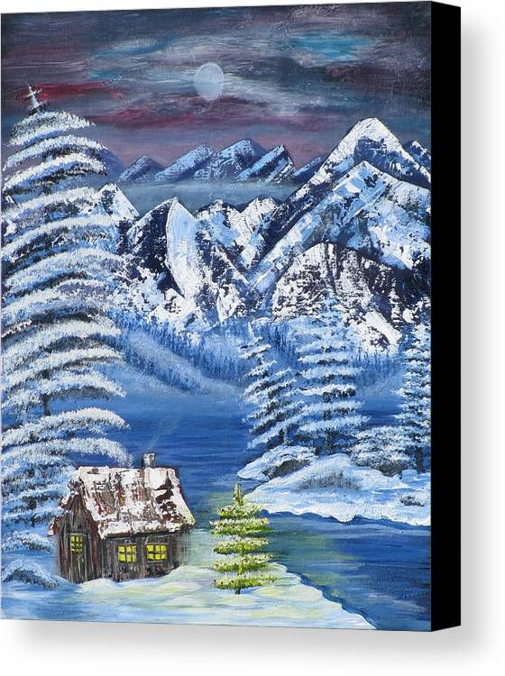 Snow Canvas Print featuring the painting Wilderness Christmas by Mikki Alhart