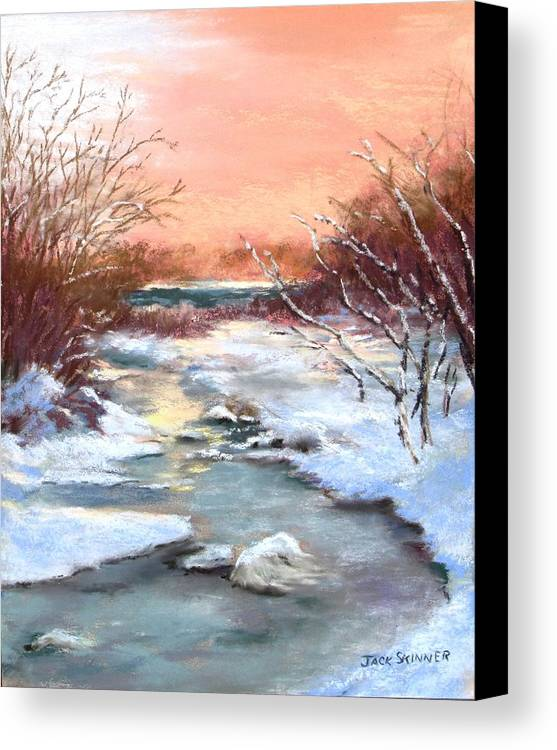Winter Canvas Print featuring the painting Winter Brook by Jack Skinner