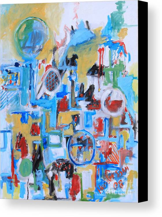 Abstract Canvas Print featuring the painting Woman In Blue by Michael Henderson