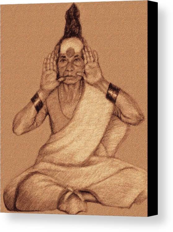 Sadhu Woman Canvas Print featuring the drawing Yellamma by Claudio Fiori