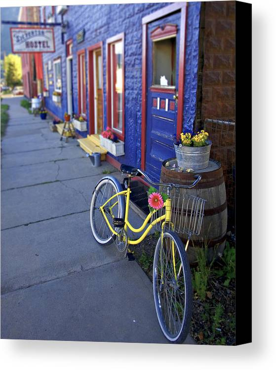 Bicycle Canvas Print featuring the photograph Yellow Bicycle Silverton Colorado by George Oze