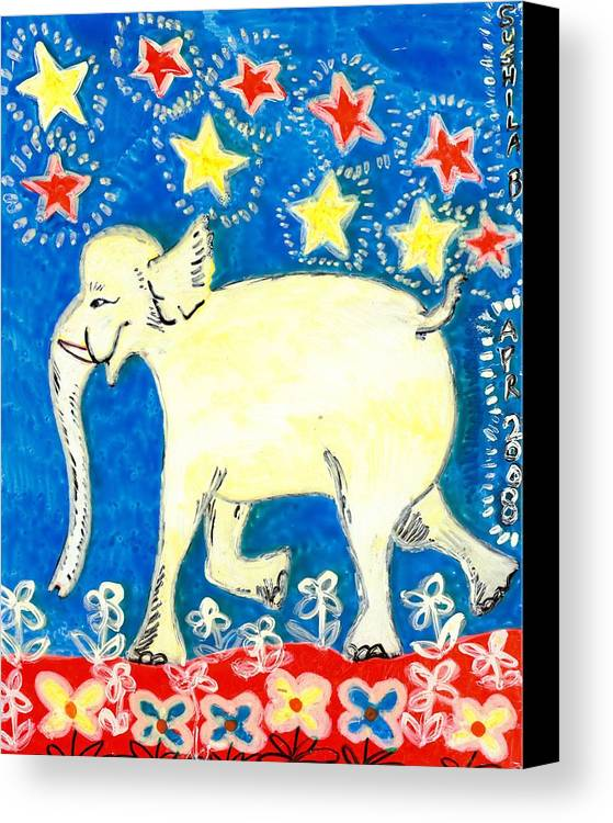 Sue Burgess Canvas Print featuring the painting Yellow Elephant Facing Left by Sushila Burgess