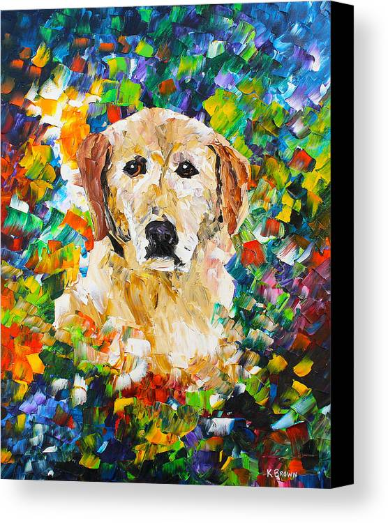Labrador Retriever Canvas Print featuring the painting yellow Lab by Kevin Brown