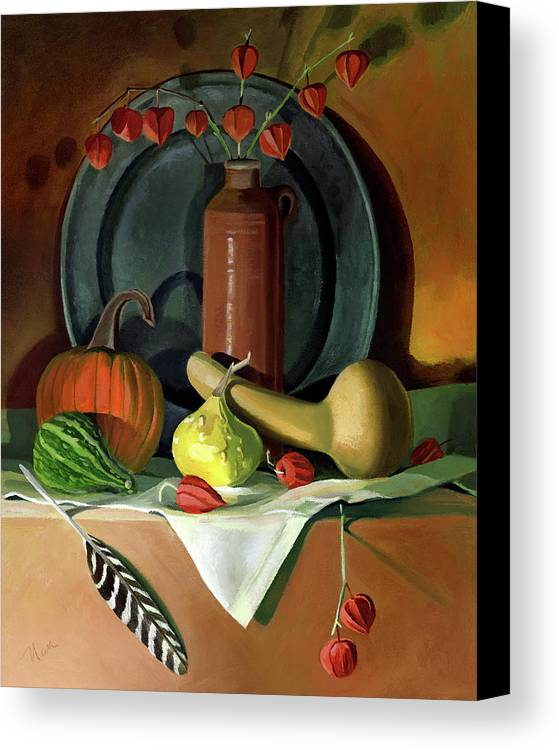 Still Life Canvas Print featuring the painting Autumn Still Life by Nancy Griswold