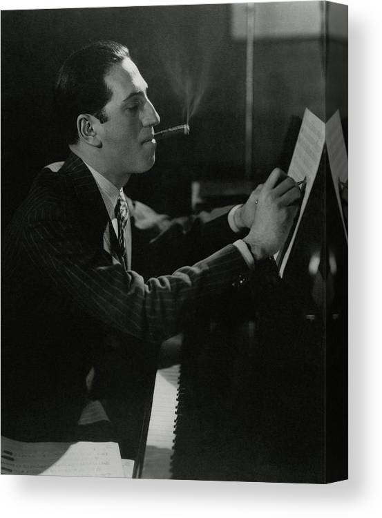 Music Canvas Print featuring the photograph A Portrait Of George Gershwin At A Piano by Edward Steichen
