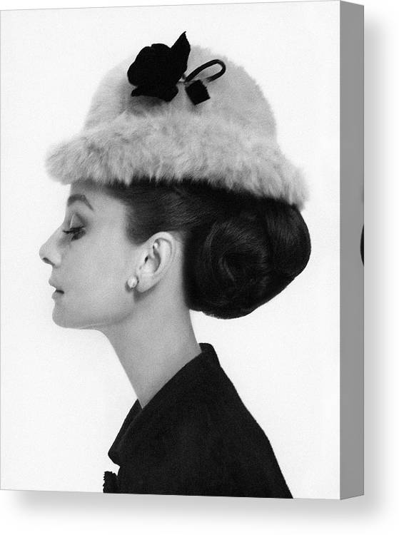 Accessories Canvas Print featuring the photograph Audrey Hepburn Wearing A Givenchy Hat 2 by Cecil Beaton