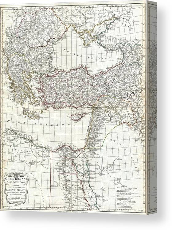 1794 Anville Map Of The Eastern Roman Empire Canvas Print Canvas