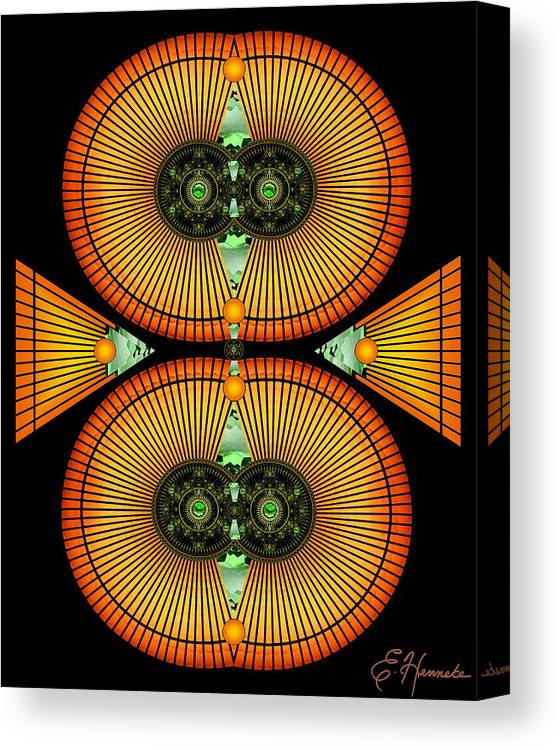 Cosmic Mitosis Canvas Print featuring the mixed media Cosmic Mitosis by Ellen Henneke
