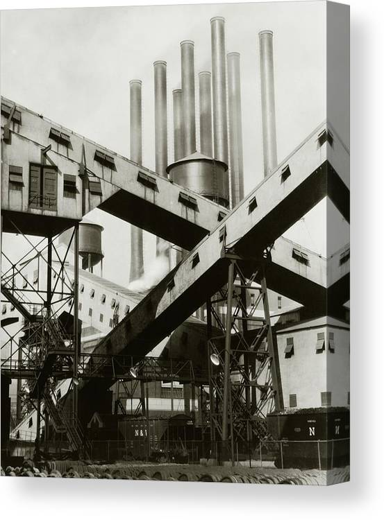 Detroit Canvas Print featuring the photograph A Ford Automobile Factory by Charles Sheeler