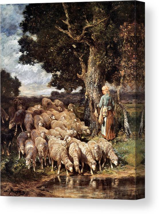 A Shepherdess With Her Flock Near A Stream Canvas Print featuring the digital art A Shepherdess With Her Flock Near A Stream by Charles Emile Jacque