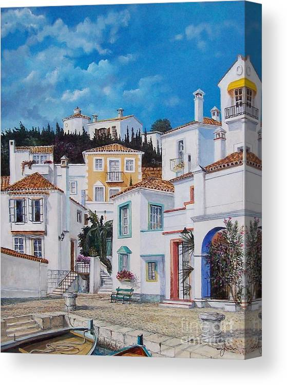 Cityscape Canvas Print featuring the painting Afternoon Light In Montenegro by Sinisa Saratlic