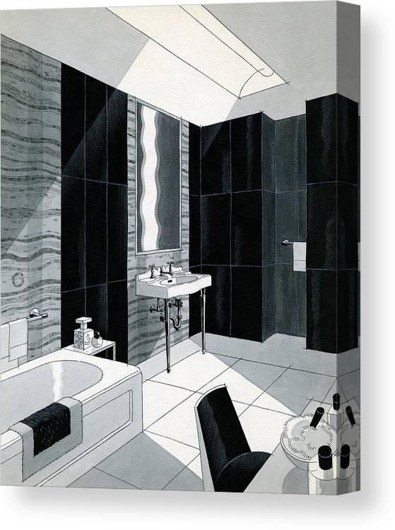 Bathroom Canvas Print featuring the digital art An Illustration Of A Bathroom by Urban Weis