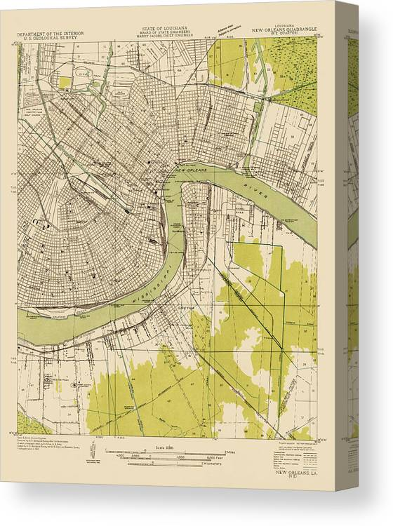 image relating to Printable Maps of New Orleans identified as Antique Map Of Fresh Orleans - Usgs Topographic Map - 1932 Canvas Print