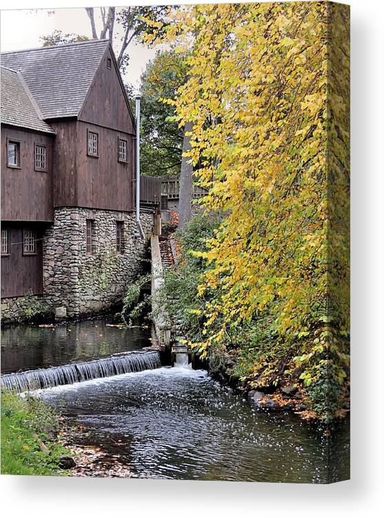 Jenney Grist Mill Canvas Print featuring the photograph Back Of The Plimoth Grist Mill by Janice Drew