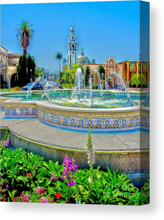 Balboa Park Canvas Print featuring the photograph Balboa Park Tower by Baywest Imaging