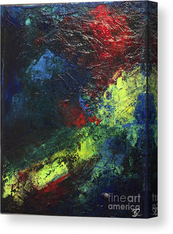 Black Neon Bright Colors Abstract Modern Art Nebula By Chakramoon Canvas Print
