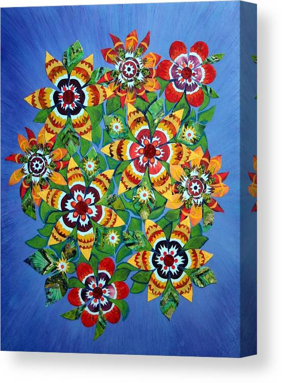 /carniva Canvas Print featuring the mixed media Carnival Flowers by Bob Craig
