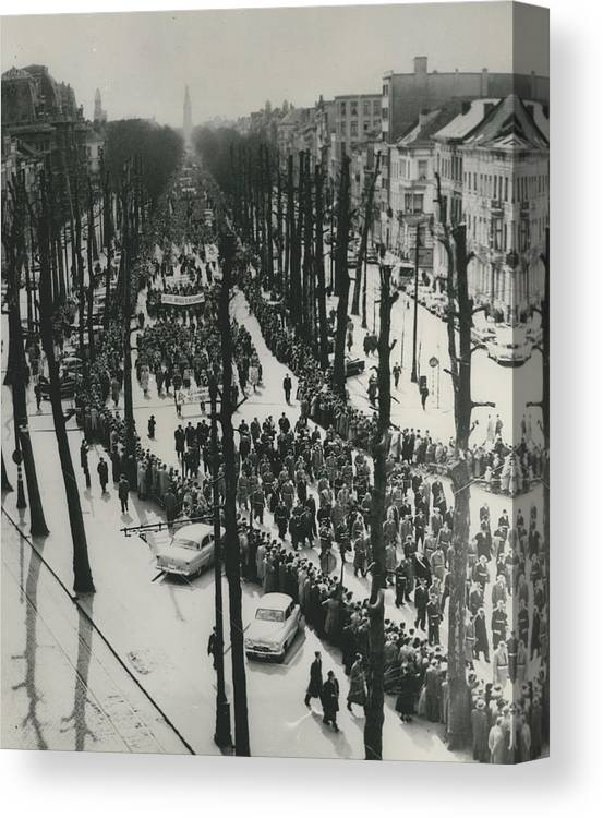 retro Images Archive Canvas Print featuring the photograph Catholics March In Antwerp.. Parade Ends Two Weeks Easter by Retro Images Archive