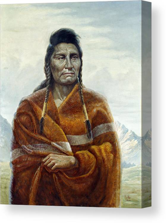 Gregory Perillo Canvas Print featuring the painting Chief Joseph by Gregory Perillo