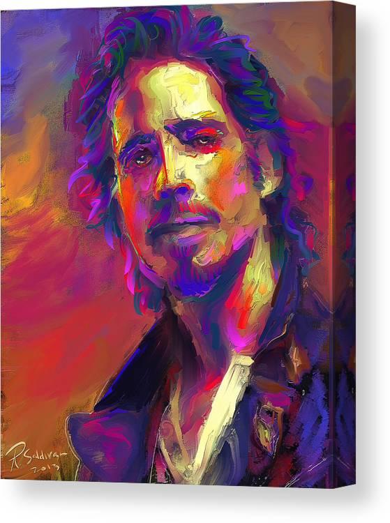 Chris Cornell Canvas Print featuring the digital art Chris Cornell by Roland Saldivar