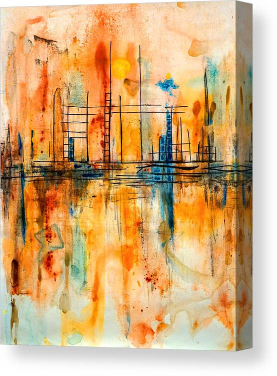 Angel Canvas Print featuring the painting City By The Sea IIi by Giorgio Tuscani