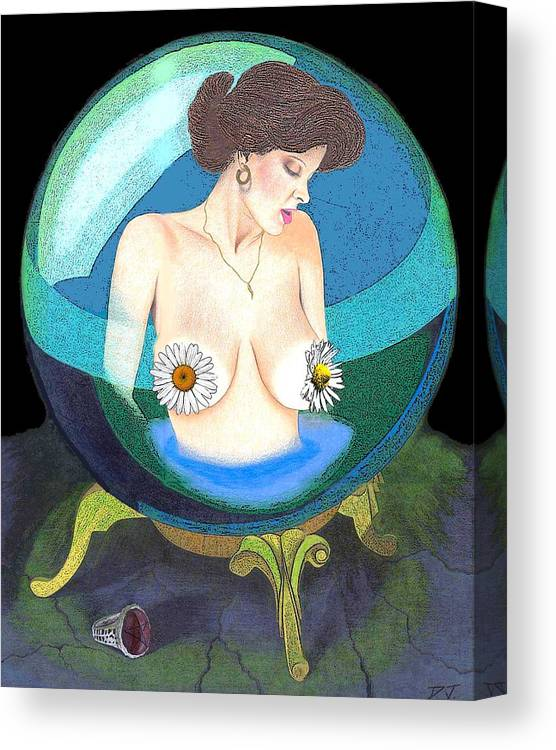 Canvas Print featuring the drawing Crystal Ball by David W Johnson